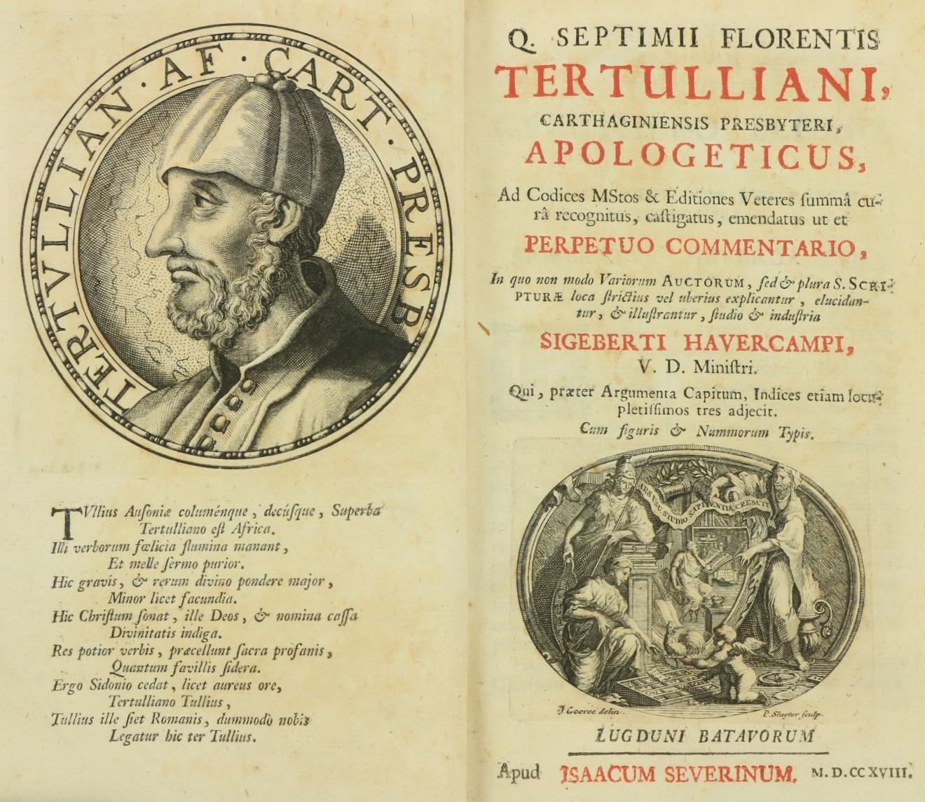Armorial Bindings:ÿ Havercampi (Sigeberti)Ed.ÿÿQ. Septimii Florentis Tertulliani, Carthaginiensis - Image 3 of 3
