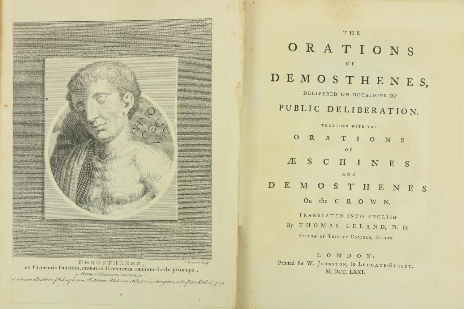 Leland (Thos.) T.C.D. trans.ÿÿThe Orations of Demosthenes, Delivered on Occasions of Public - Image 2 of 2