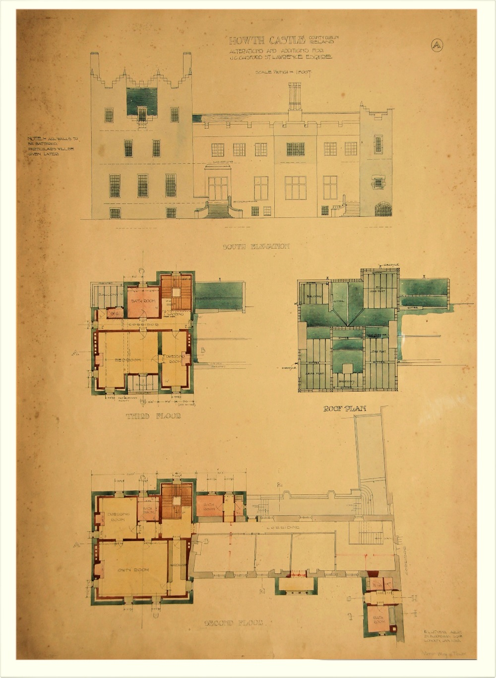 Sir Edward L. Lutyens 1869 - 1944 Howth Castle Plans: A Series of 10 Prototype Architect Drawings - Image 2 of 6