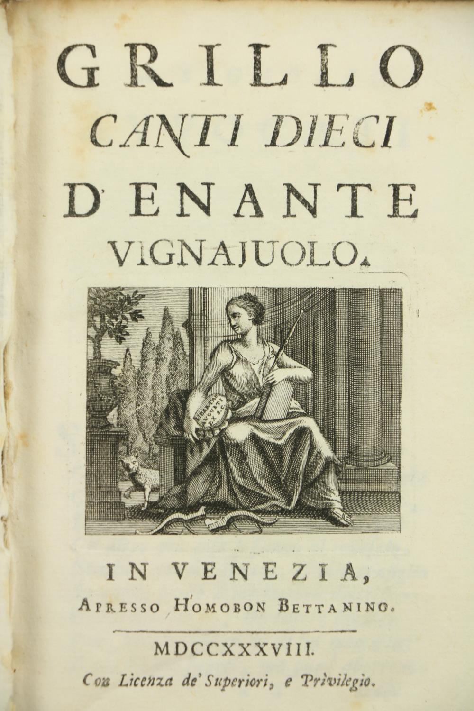 Italian Poetry: [Volpi (G.A.)]Le Rime d'Angelo di Costanzo, Cavaliere Napoletano, 8vo Padua