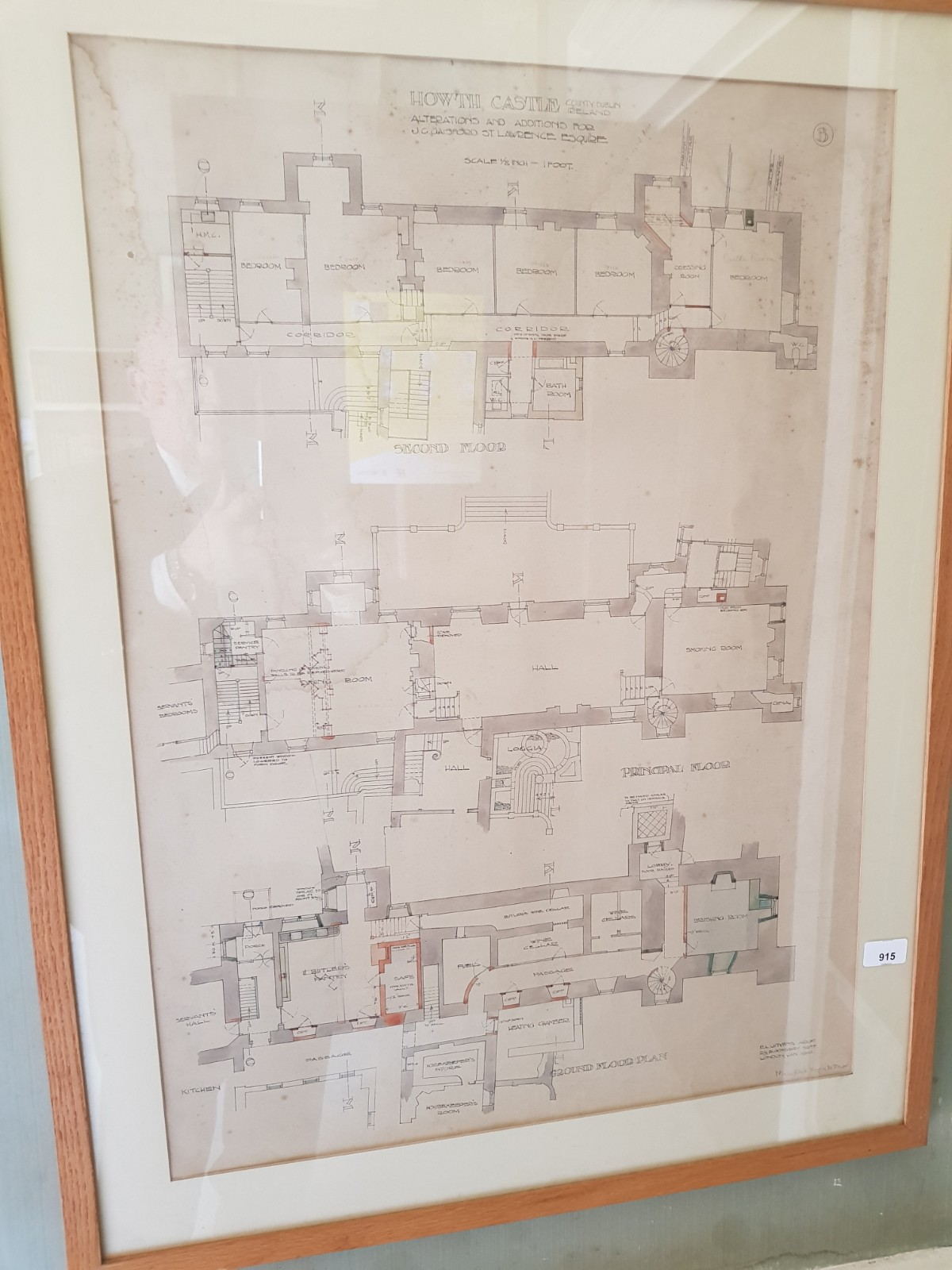 Sir Edward L. Lutyens 1869 - 1944 Howth Castle Plans: A Series of 10 Prototype Architect Drawings - Image 6 of 6