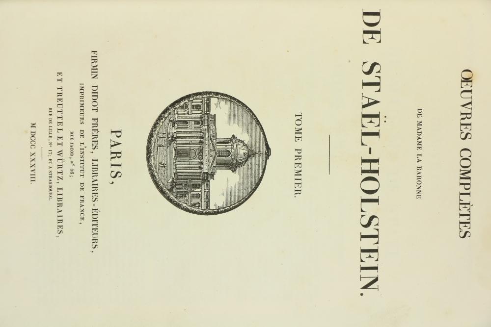 De Stael (Madame)ÿOeuvres Completes de Madame la Baronne de Stael-Holstein, 2 vols. folio Paris ( - Image 2 of 8