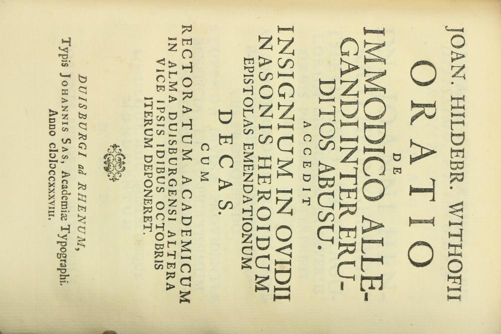 Withofii (Joan Hildebrand) Oratio de Telchinibus Antiquissime Totuis Terrarum Orbis Popula, 4to - Image 2 of 3