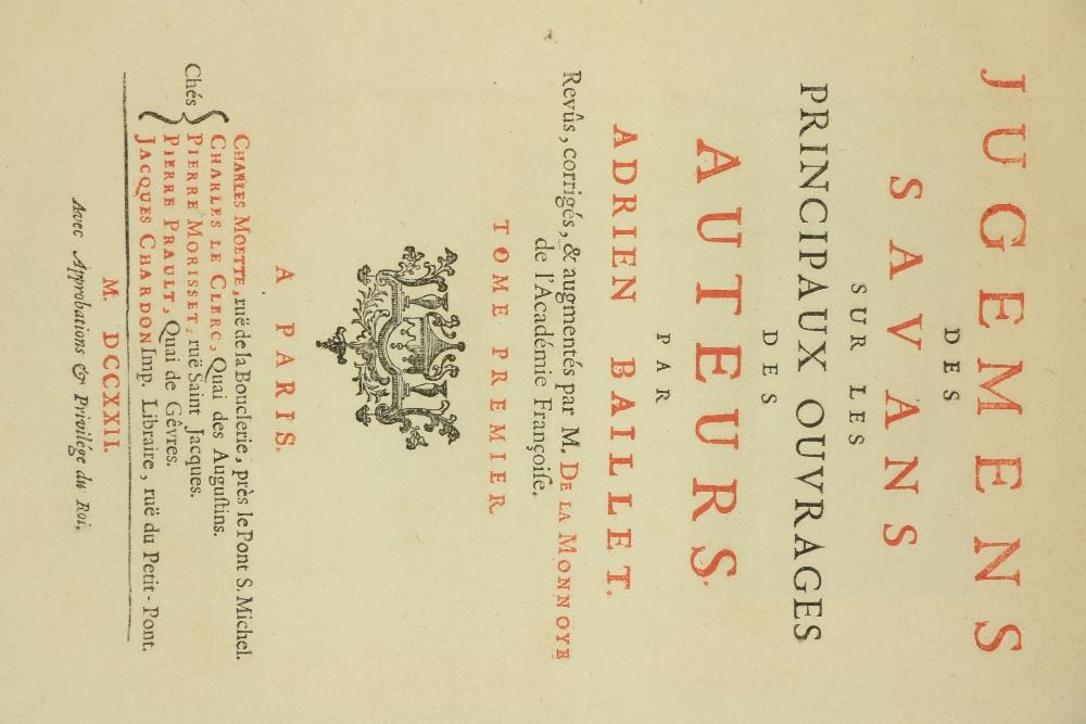 Baillet (Adrien) Jugemens des Savans sur les Principaux Ouvrages des Auteurs, Revus, Corriges & - Image 2 of 3