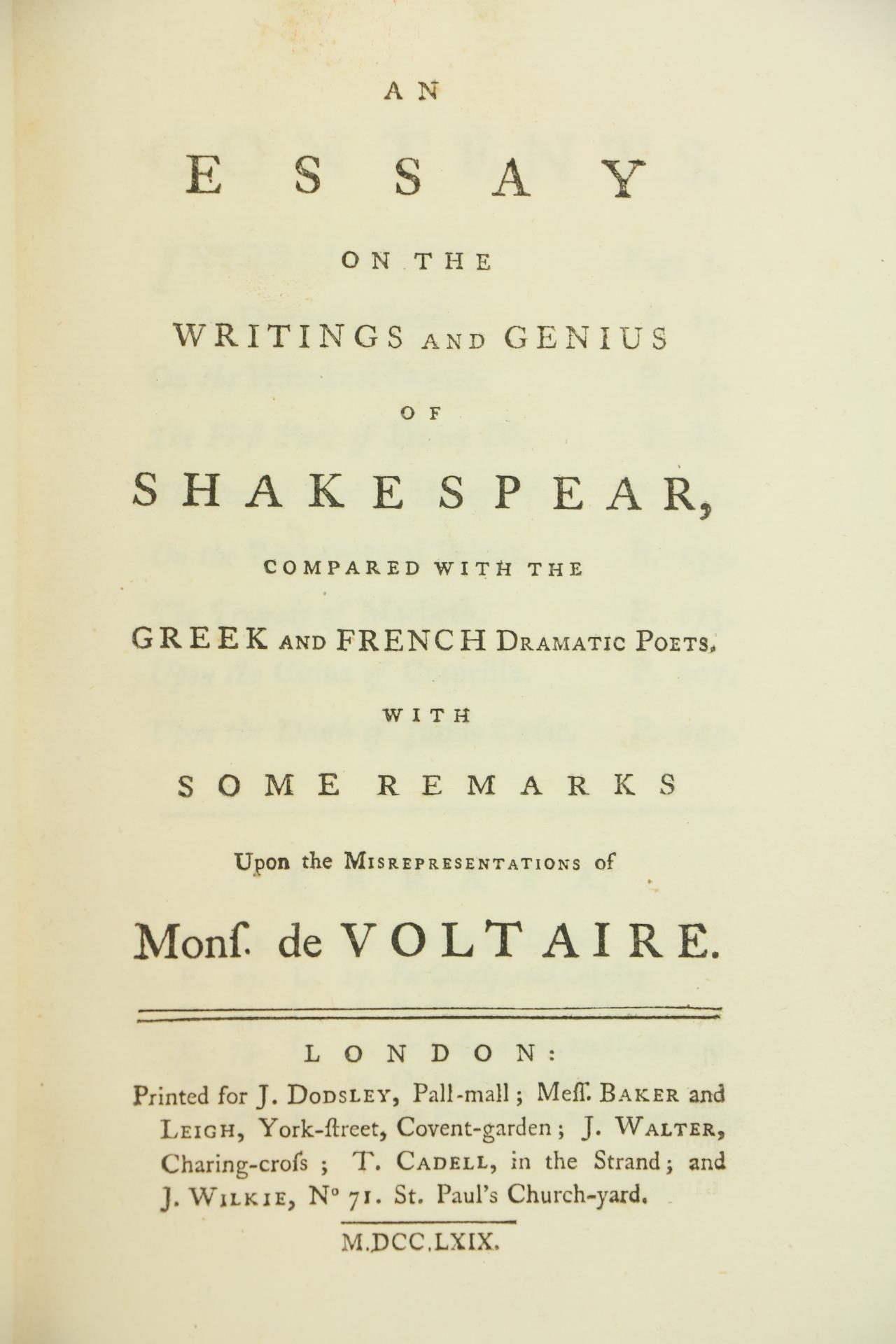 [Montague (Eliz.)]ÿAn Essay on the Writings and Genius of Shakespeare, compared with the Greek and - Image 2 of 2