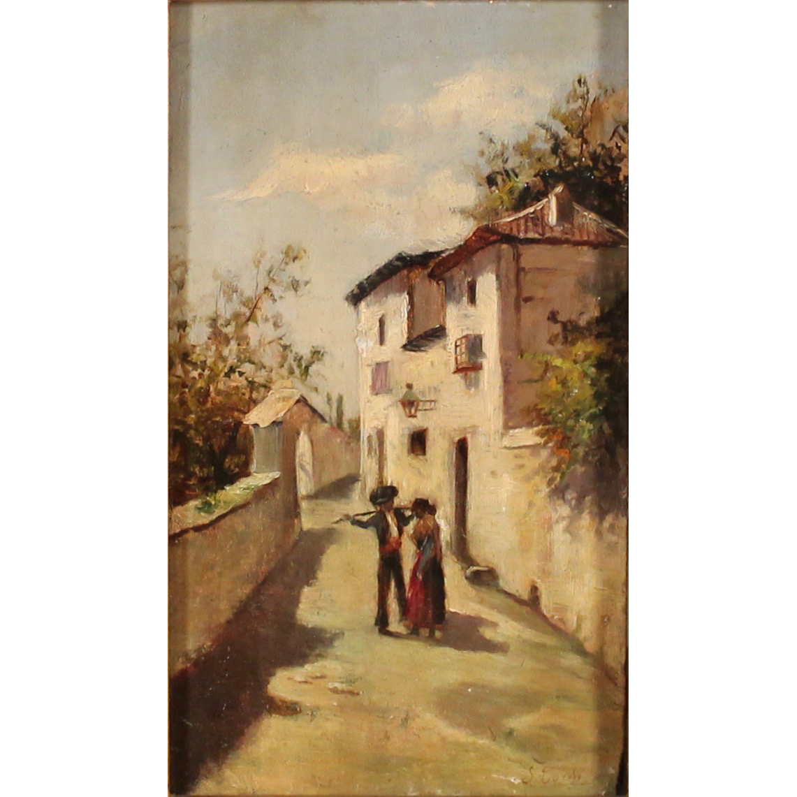 "SINIBALDO TORRI (1876/1955) ""Strada di paese con figure"" - ""Country road with figures"""