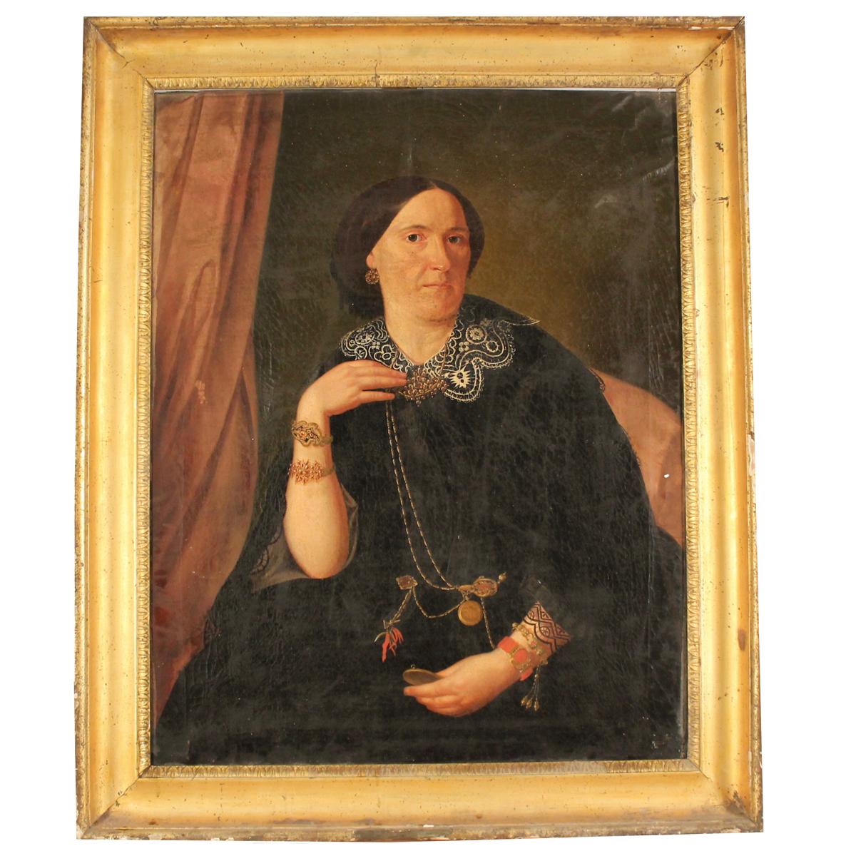 """SCUOLA SICILIANA DEL SECOLO XIX """"Figura di nobildonna""""- SICILIAN SCHOOL OF THE XIX CENTURY """"Figure o - Image 2 of 2"""