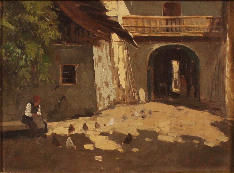 """ARTURO DE LUCA (1885/1971) """"Galline nel cortile""""."""