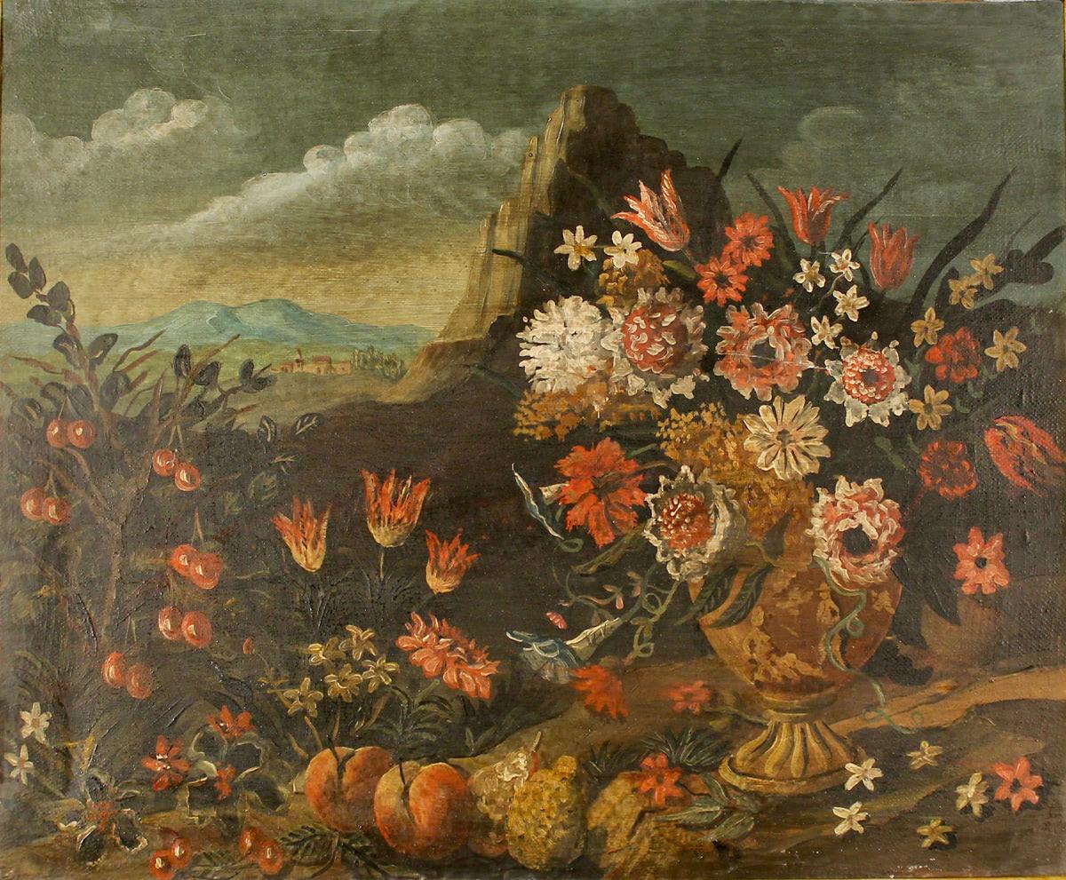 """SCUOLA FRANCESE DEL SECOLO XIX """"Fiori e frutta su una tela""""-19th CENTURY FRENCH SCHOOL """"Flowers and"""