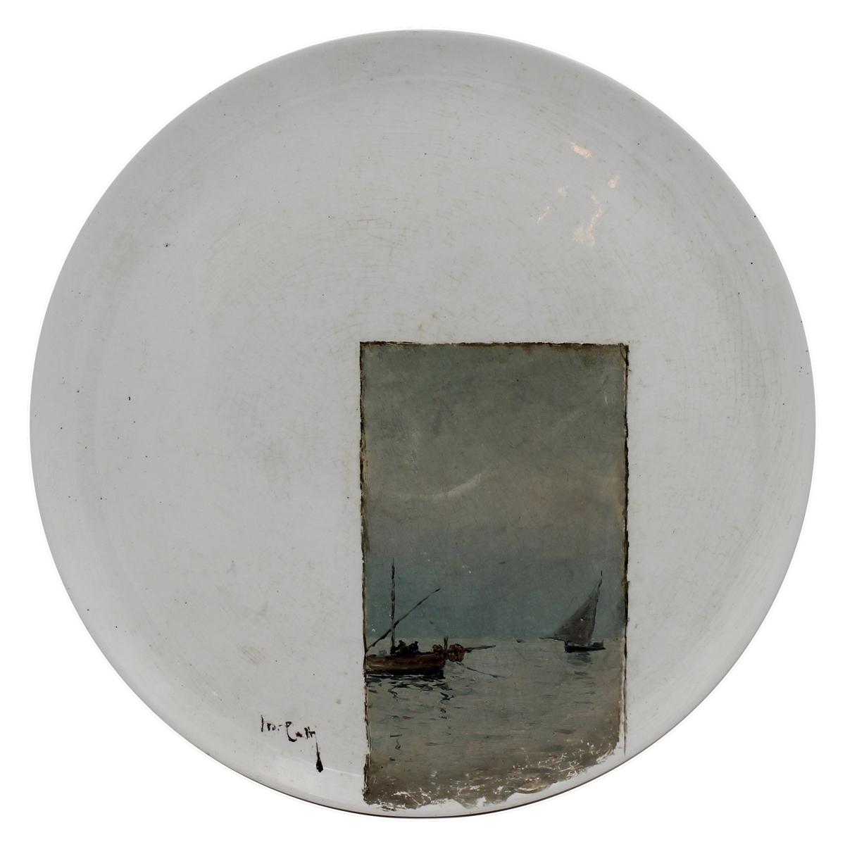 """MICHELE CATTI (1855/1914) """"Marina con barche di pescatori"""" - """"Marina with fishing boats"""""""