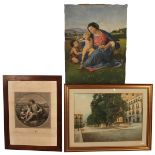 LOTTO DI DUE DIPINTI ED UNA STAMPA- LOT OF TWO PAINTINGS AND ONE PRINT