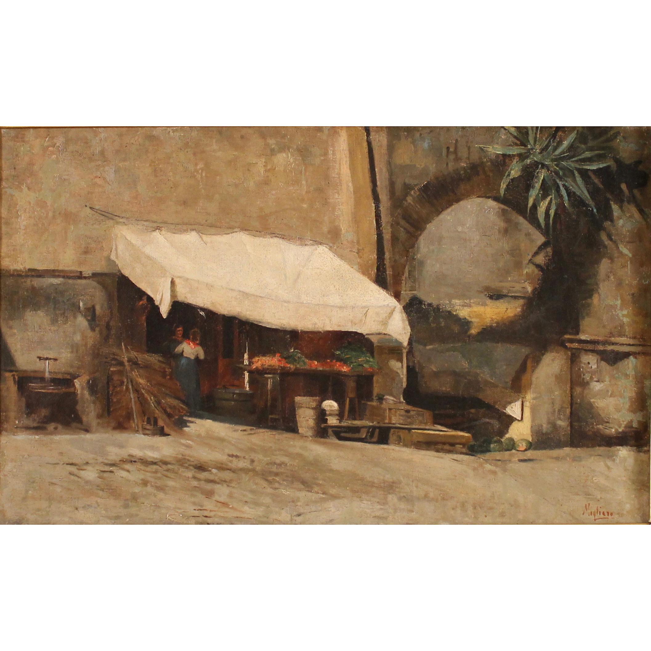 """VINCENZO MIGLIARO (1858/1938) """"SCENA DI MERCATO NAPOLETANO"""" - """"NEAPOLITAN MARKET SCENE"""""""