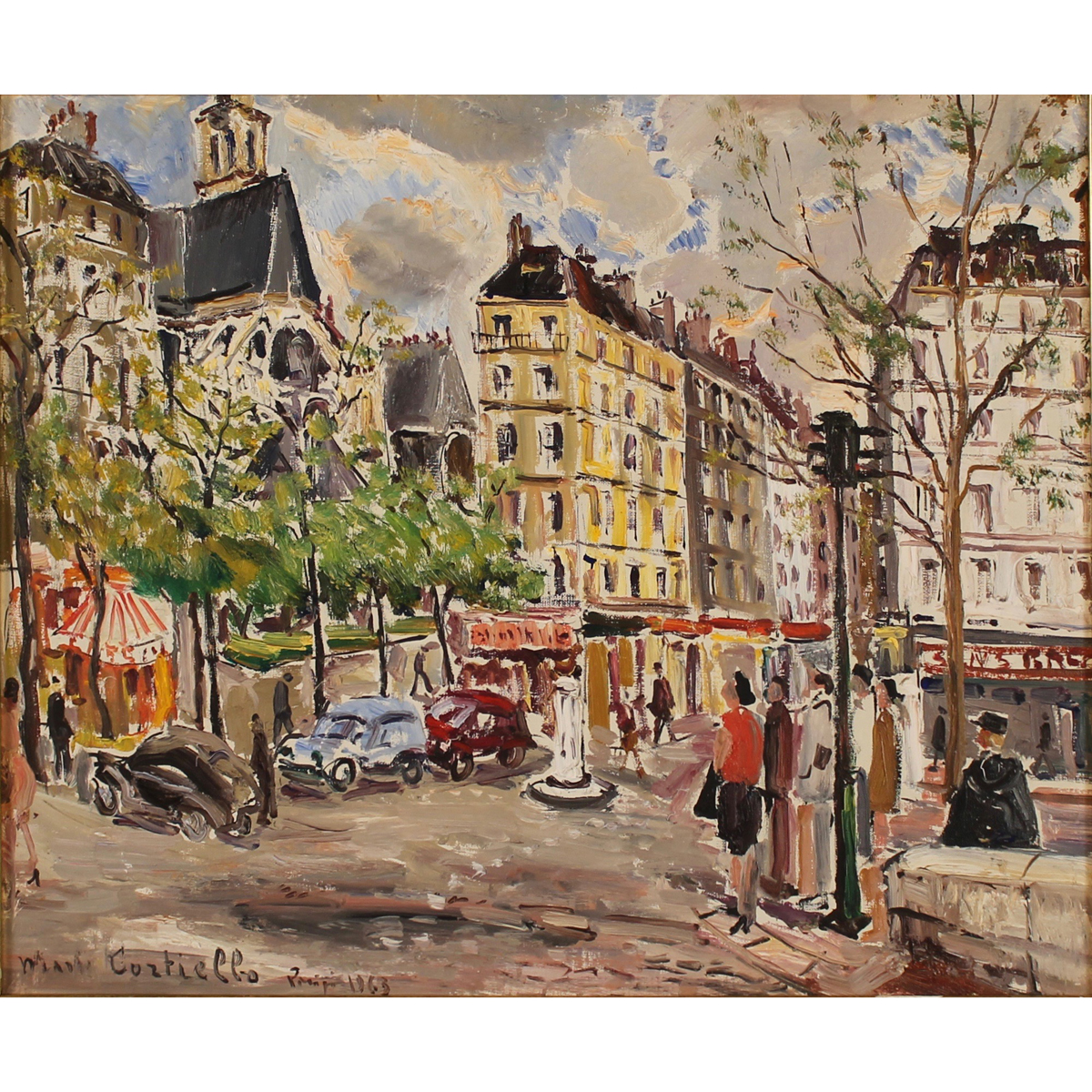 "MARIO CORTIELLO (1907/1982) ""Veduta di Parigi con figure"" - ""View of Paris with figures"""
