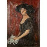 """GIOVANNI LENTINI (1882/1955) """"Figura di donna con cappello"""" - """"Figure of a woman with a hat"""""""