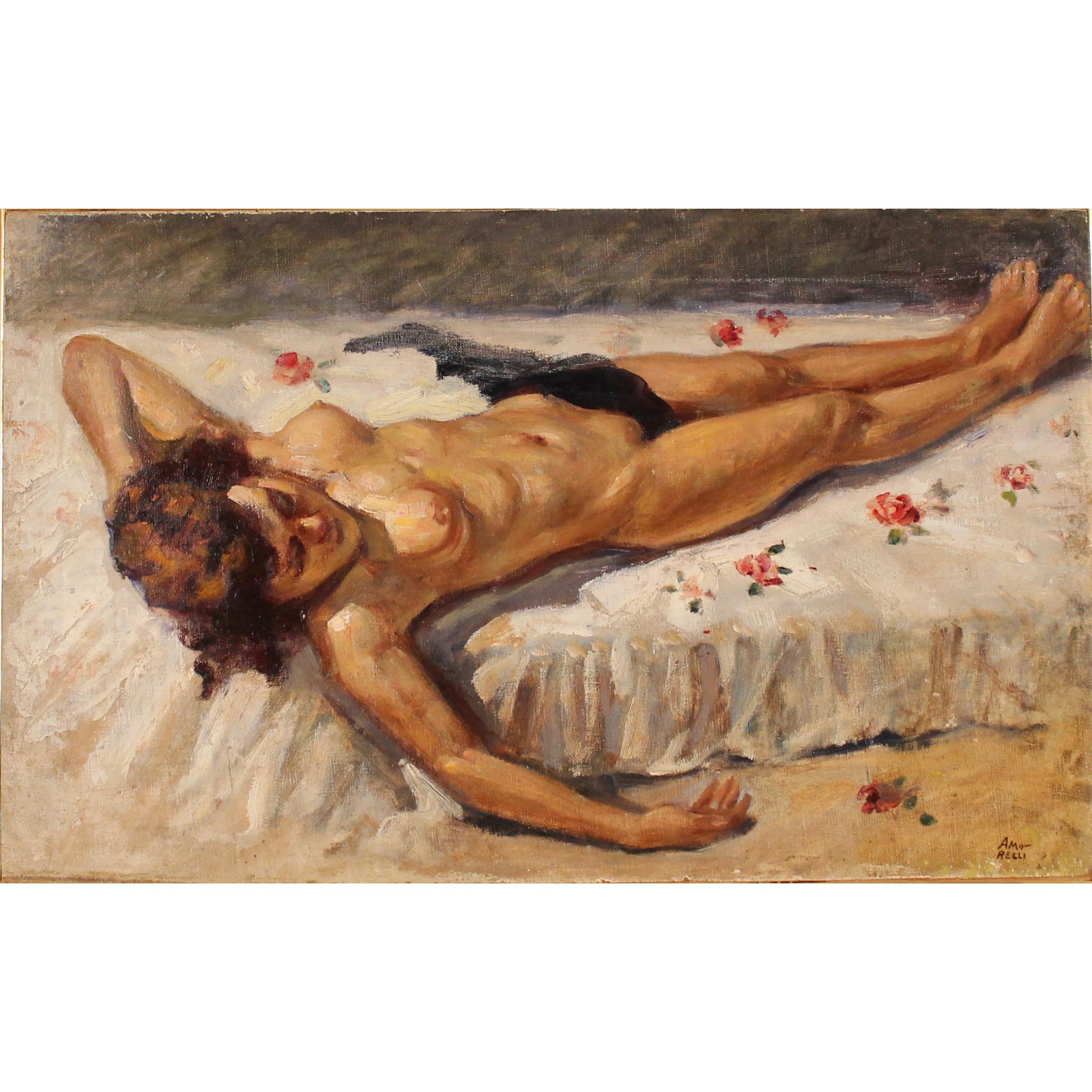 "ALFONSO AMORELLI (1898/1969) ""Nudo di donna distesa""- ""Naked woman lying"""