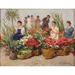 """PIETRO DE FRANCISCO (1873/1969) """"Il mercato dei fiori"""" - """"Flower market"""""""