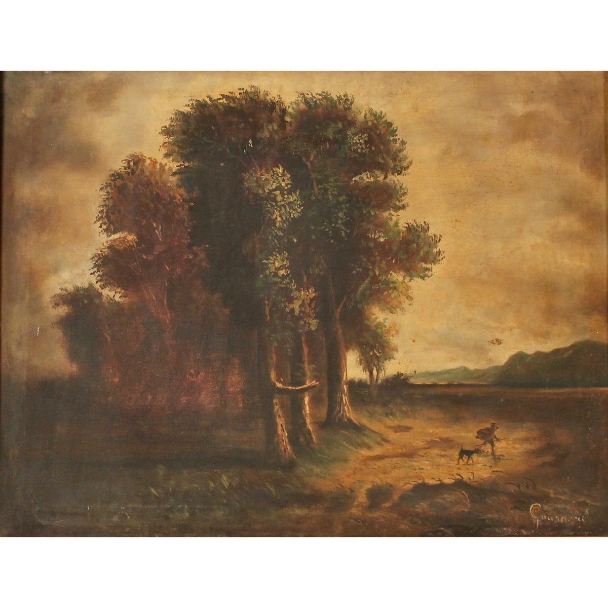 """FIDIA GUARNERI (XX) """"Paesaggio con cacciatore"""" - """"Landscape with hunter"""""""