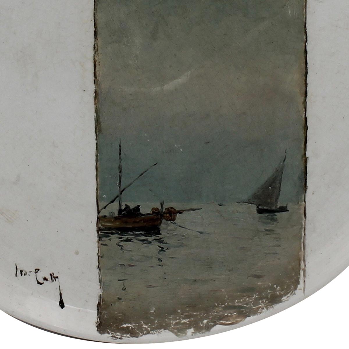 """MICHELE CATTI (1855/1914) """"Marina con barche di pescatori"""" - """"Marina with fishing boats"""" - Image 2 of 2"""