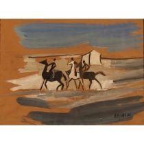 """ALFONSO AMORELLI (1898/1969) """"Passeggiata a cavallo"""" - """"Horse ride"""""""