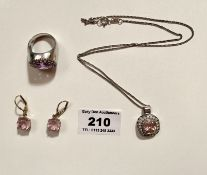 Silver necklace with silver/pink stone pendant, pair of silver/pink stone earrings, silver ring with