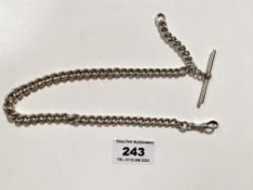 Silver watch chain with t-bar. W: 1.32 tozs.