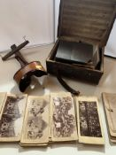 Wooden stereoscope in leather box with 76 assorted scenic cards, mostly by Strohmeyer & Wyman, J.