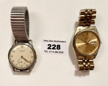 Seiko Quartz gents watch on metal bracelet, winder moves but untested. Buren Grand Prix gents