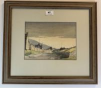 """Watercolour """"Road to Tan Hill"""" by Tom Sykes. 9"""" x 6.5"""", frame 16.5"""" x 14.5"""". Good condition"""