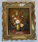 """Oil painting """"A Vase of Flowers"""" by Teri Van Hagen, 7.75"""" x 9.75"""", frame 11.75"""" x 13.75"""". Gallery"""