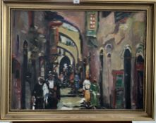 """Oil painting on canvas of Jerusalem by Eliezer Barooch. 31"""" x 23"""", frame 36"""" x 28"""". Good condition"""