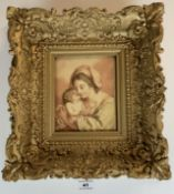 """Print of woman and child, unsigned. 5.5"""" x 6.25"""", frame 13"""" x 14"""". Small pieces missing from frame."""