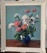 """Large oil painting """"Peonies"""" on board by Philip Naviasky. 24.5"""" x 29.5"""", frame 31"""" x 36"""". Painting"""