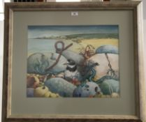 """Watercolour on board, """"Plover"""" by D. Ellis. 19.5"""" x 15"""", frame 30"""" x 26"""""""
