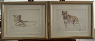 """Pair of prints of leopards by James Hodges. Signed in pencil by artist. 11"""" x 15"""", frame 19.5"""" x"""