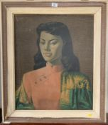 """Print on board, """"Miss Wong"""" by V. Tretchikoff, 19.5"""" x 23.5"""", frame 25.5"""" x 29.5"""". Some marks and"""