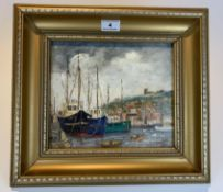 """Oil painting """"Whitby Harbour, 1985"""" by T.E. Grimshaw, 9"""" x 8"""", frame 15"""" x 13"""". Good condition"""