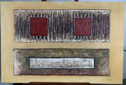 """Modern mixed media painting on canvas, unframed. Unsigned. 47""""x 31.5"""". Good condition"""
