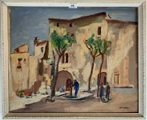 """Oil painting on board of Spanish town scene by Philip Naviasky. 19"""" x 17.5"""", frame 23"""" x 21"""". Good"""
