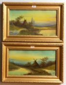 """Pair of oil paintings of windmills, unsigned. 17"""" x 9.5"""", frame 22.5"""" x 14.5"""". Good condition"""
