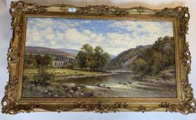 """Oil painting """"Bolton Abbey"""" by A.A. Glendening, 29.5"""" x 15.5"""", frame 34.5"""" x 20.5"""". Good condition"""