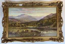 """Oil painting of cattle by river by A.A. Glendening. 25.5"""" x 15.5"""", frame 30.5"""" x 20.5"""". Gallery"""