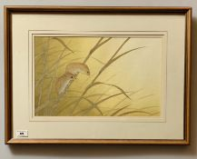 """Watercolour """"Field Mice"""" by Robert Butler 1991. 16"""" x 10"""", frame 23"""" x 17"""". Good condition"""