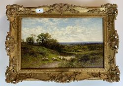 """Oil painting """"Near Dorking, Surrey"""" by A.A. Glendening 1893. 15.5"""" x 9.5"""", frame 20"""" x 14""""."""