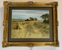 """Watercolour """"Harvest at Lupset Farm"""", 11.5"""" x 8.5"""", frame 16"""" x 13"""", non reflective glass. Unsigned."""