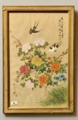 """Chinese picture on silk. 21"""" x 13"""", frame 24"""" x 16"""". Frame worn."""