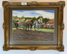 """Mixed media painting of horse and plough. Unsigned. 11.5"""" x 8.5"""", frame 16"""" x 13"""". Good condition"""