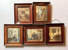 "5 framed prints of domestic scenes, 4@ 12.5"" x 11"", 1@ 14"" x 11.5"""