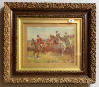 "Print, Hunting scene in gilt and wood frame. 12.5"" x 9.5"", frame 24"" x 21""."
