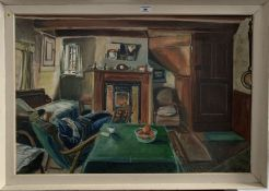 """Oil painting on canvas """"Interior of fisherman's cottage in Filey"""" by Pat Faust 1969 with letter of"""
