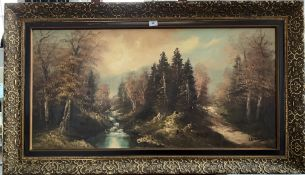 """Oil painting on canvas of forest scene, signature indecipherable. 39"""" x 19"""", frame 46"""" x 27"""". Good"""